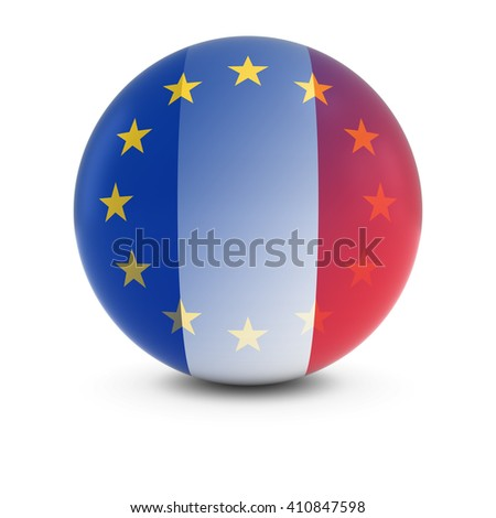 French and European Flag Ball - Fading Flags of France and the EU - stock photo