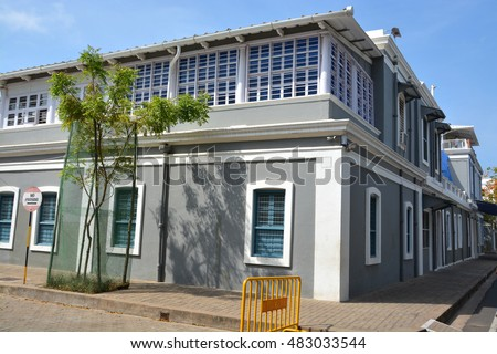 French architecture building in the french colony of Pondicherry India.