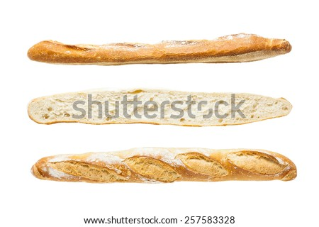 French artisan baguette on white background - stock photo