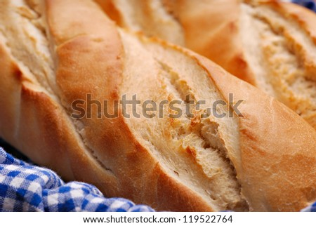 French baguette bread close up showing texture and structure - stock photo