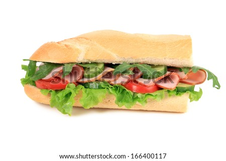 French baguette fresh sandwich. Isolated on a white background.