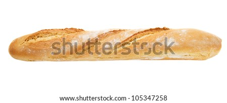 French baguette fully isolated - stock photo