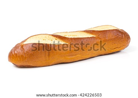 French Baguette isolated on white background