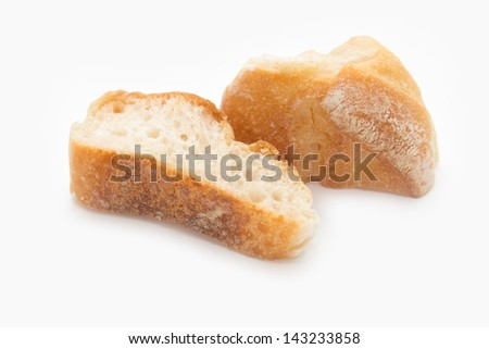 French baguettes sliced isolated  on white background - stock photo