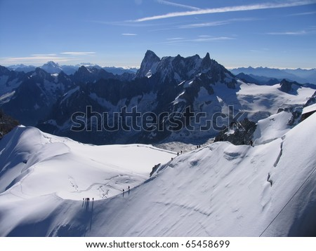 French beauty, visible Monte Rosa and Matterhorn from Aiguille du Midi Mont Blanc