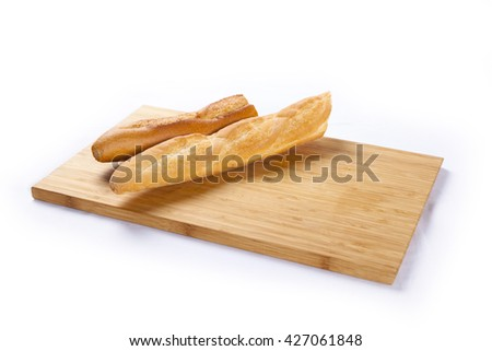 French bread baguette on a white background - stock photo