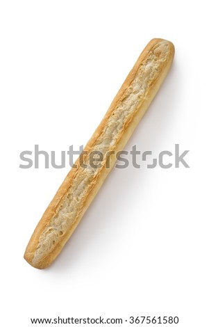 French bread baguette on a white background isolated top view - stock photo