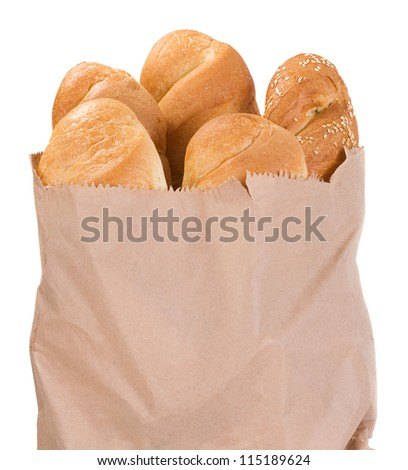 french bread in paper bag isolated on white background