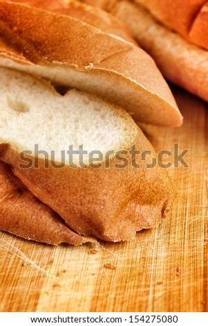 French bread on the wood
