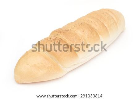french bread on white - stock photo