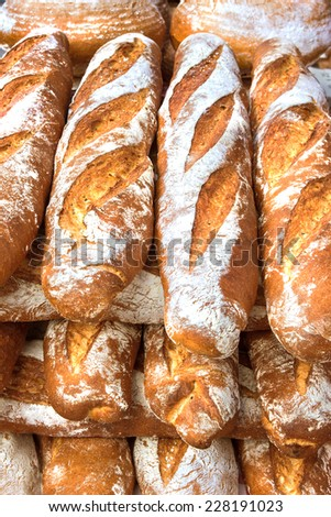 French breads in a bakery market