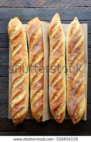 french breads on boards, food top view - stock photo