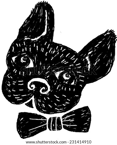 French bulldog  Black and white raster illustration.  - stock photo