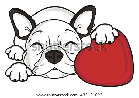 french bulldog puppy sleeping and hugging red heart