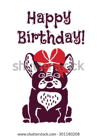 French bulldog with red bow. Happy birthday greeting card.  - stock photo