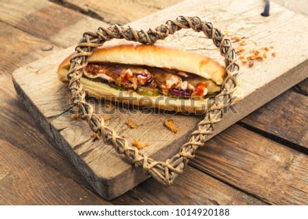 French bun sandwich chicken sausage onion stock photo 1014918964 french bun sandwich with chicken sausage and onion chips easy fast food recipe for home forumfinder Image collections