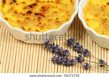 French caramelized dessert - creme brulee - stock photo