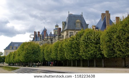 French Castle of Fontainebleau behind the trees