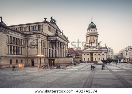 French Cathedral (Franzoesischer Dom) and Konzerthaus located on the Gendarmenmarkt in Berlin, Germany, Europe, vintage filtered style   - stock photo
