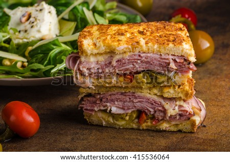 French cheese toast with meat and hot peppers - stock photo