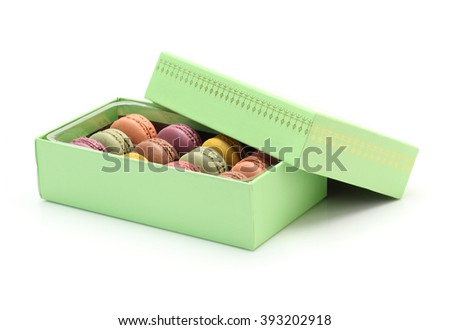 French colorful macarons isolated on white - stock photo