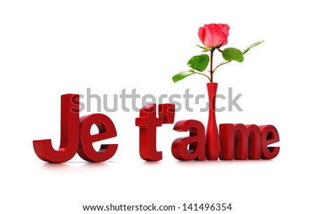"""French concept, 3D word Je t'aime and a pink rose over white. Means """"I Love You."""" - stock photo"""