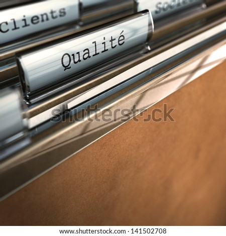 """French concept, Word """"Qualit�©"""" written on a folder. Conceptual 3D render for quality purpose - stock photo"""