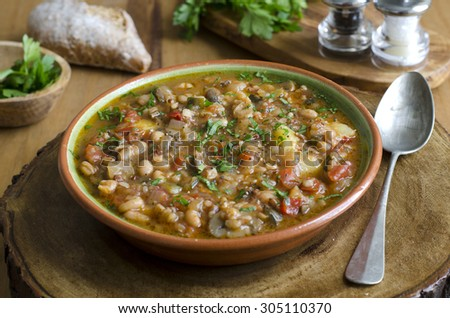 French country vegetable soup - stock photo