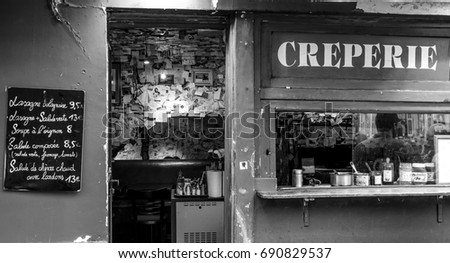 French Creperie on Montmartre hill in Paris - PARIS / FRANCE - SEPTEMBER 24, 2017