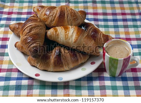 French Croissants with Coffee