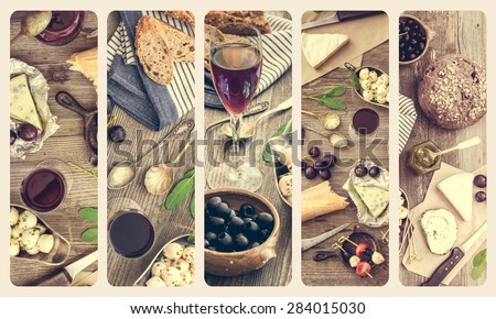 French cuisine collage. Different types of cheese, wine and other ingredients on a wooden table - stock photo