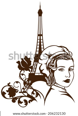 french cuisine emblem - beautiful female chef and eiffel tower among rose flowers