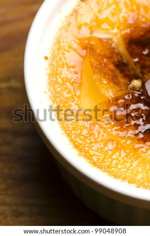 French dessert - cream brulee, burnt cream - stock photo