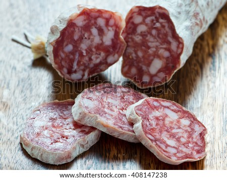French dried sausages - stock photo