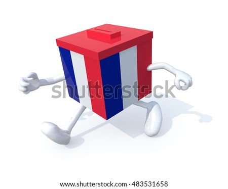 French election ballot box whit arms, legs runnning away, 3d illustration