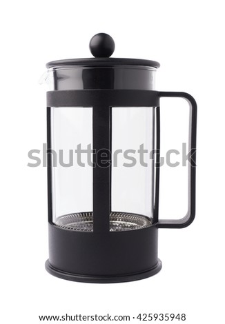French empty press pot coffee maker composition isolated over the white background - stock photo