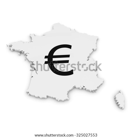 French Financial Concept Image - 3D Outline of France Textured with Euro Symbol