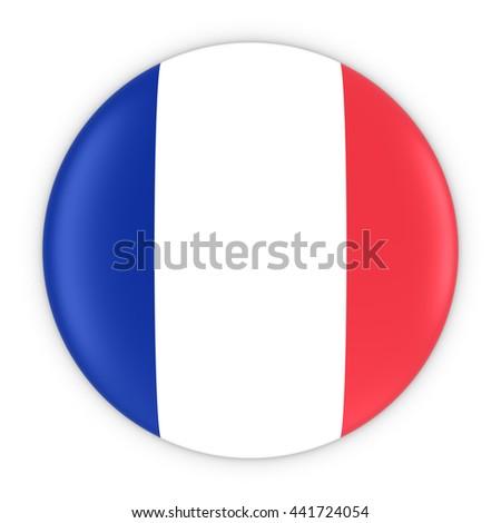 French Flag Button - Flag of France Badge 3D Illustration - stock photo
