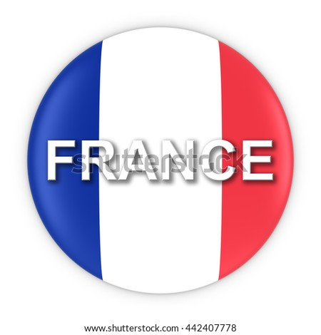 French Flag Button with France Text 3D Illustration - stock photo