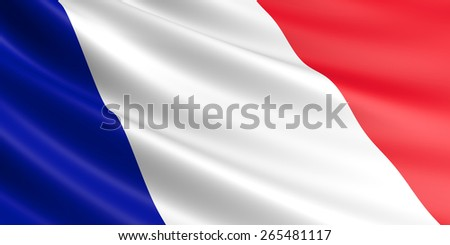 French flag fluttering in wind.