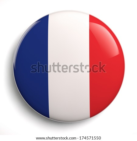 French flag icon on white. Clipping path included. - stock photo