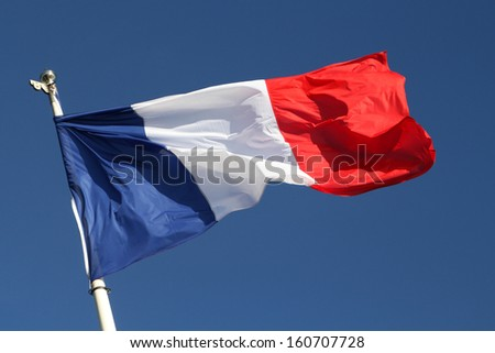 French flag in the wind - stock photo