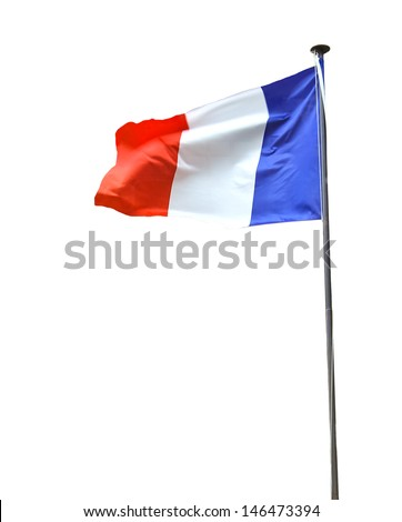 French flag isolated on white background - stock photo