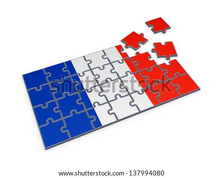 French flag made of puzzles.Isolated on white.3d rendered. - stock photo