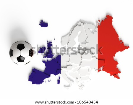 French flag on European map with national borders, isolated on white background - stock photo