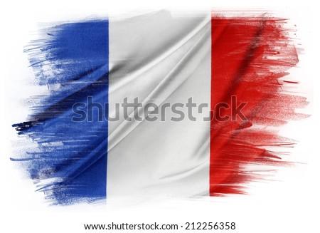 French flag on plain background - stock photo