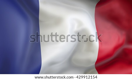 French flag waving in the wind 3d Illustration
