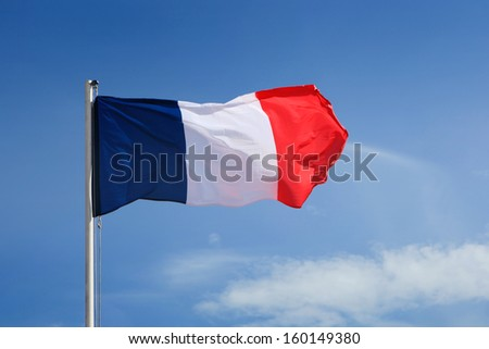 French Flag waving on wind. - stock photo