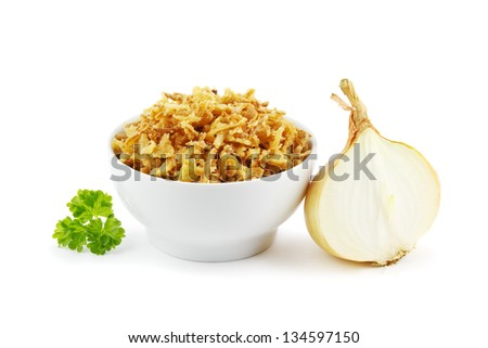 French fried onions in a bowl on a white background - stock photo