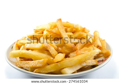 French fries against a white background - stock photo